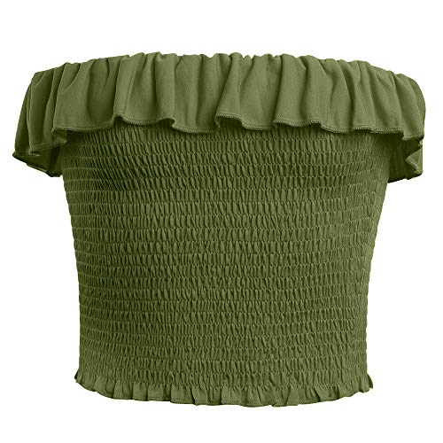 GATHY Women's Strapless Pleated Sexy Tube Crop Tops (X-Small, ()