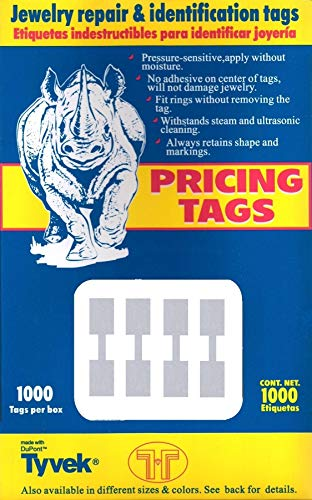 (1000 Pcs Silver Price Tags Stickers 12mm Barbell Jewelry Display Rectangle Shape)