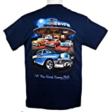 55 - 56 - 57 Chevy Bel Air Tri-Five T-Shirt 100% Cotton - Blue by Hot Rod Apparel