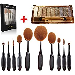 Make up brush set , Aoohe Professional Soft Oval Toothbrush Makeup Sets and 10 Color Glitter Eyeshadow Palette Kit With Mirror