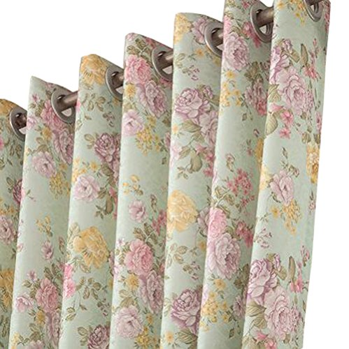 (Grommet Single Panel Green Peony Flower Pattern Polyester Fabric Window Curtain (W3H2.7m/118106.3