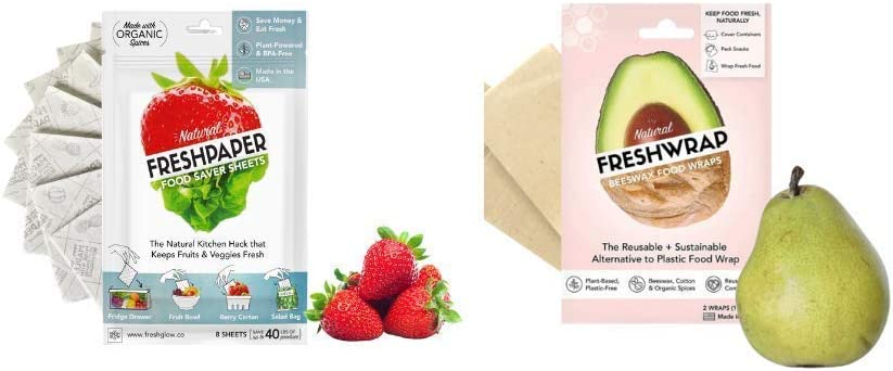 The FRESHGLOW CO FRESHPAPER and FRESHWRAP Bundle, Includes 2 10''x10'' Reusable Eco Friendly Wraps and 1 Pack of 8 Sheets of FreshPaper Sheets for Produce, Keeps Food Fresh
