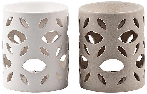 Pajoma 10755 2-er Set Duftlampe Leaves, Keramik, Höhe 14,5 cm