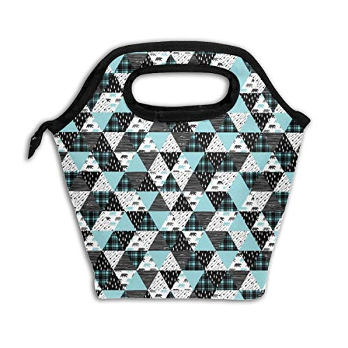 3 Small Scale - Woodland Triangle Bear Black U0026 Light Teal_25214 Lunch Bag Insulated Lunch Box Reusable Lunch Tote Cooler Organizer Bag Lunch Bags for Women,Men and Kids Adults