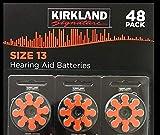 Kirkland Signature Premium Quality Hearing Aid Batteries 48 pack 1.45 Volt Mercury Free Various Sizes (Size 13)