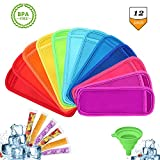 Bestxun Ice Pop Sleeves, Disposable Popsicle Bags, 12 Pack Reusable Anti-Freezing Popsicle Holders for Kids, 20 Pack BPA Free and FDA Approved DIY Ice Popsicle Mold Bags with Zip Seals