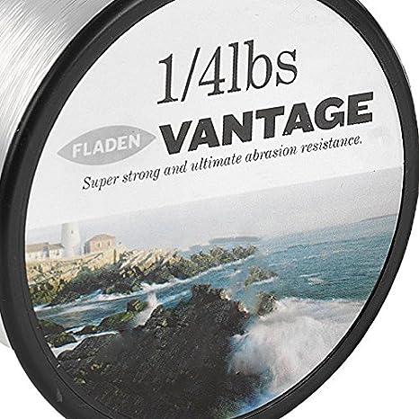 Color transparente y marr/ón 15,9 kg 4,5 kg 113 g Rollo de hilo monofilamento extrafuerte para carretes de pesca Vantage Pro FLADEN 12,7 kg 10,4 kg 8,2 kg 2,7 kg 6,4 kg 5,4 kg 20,4 kg y 24,9 kg Disponible con cargas de rotura de 1,4 kg