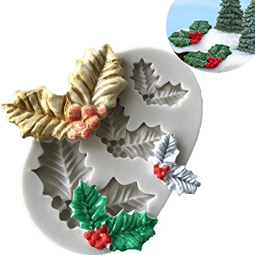 Anyana 3D mini Holly Leaf Christmas xmas mould cake Fondant biscuit gum paste mold for Sugar paste gumpaste cupcake decorating topper decoration sugarcraft decor (Holly Cake)