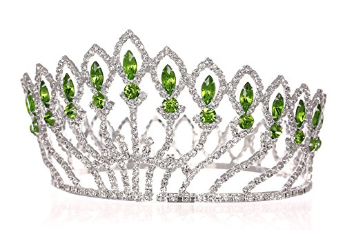 Pageant Beauty Contest Bridal Wedding Full Crown - Silver Plated Green Crystals T1185 -
