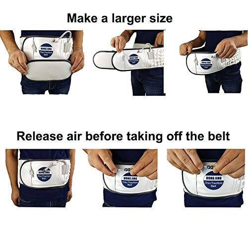 Decompression Back Belt with Pressure Gauge for Lower Back Pain Relief - Inflatable Lumbar Support Traction Device, One Size Fit 29-49 Waist