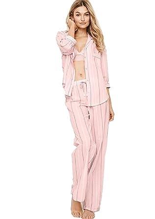 20da8b987558f Victoria's Secret The Flannel PJ Pajama Sleepwear Set (Pink and White  Stripe, Large)