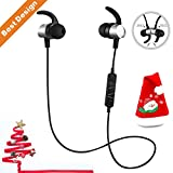 Bluetooth Headphones S13 Noise Canceling Waterproof, Wireless Earbuds Sport, Richer Bass HiFi Stereo Magnetic In-Ear Earphones w/ Mic Bluetooth 4.1 Headsets, Case, 8 Hrs for Running Workout