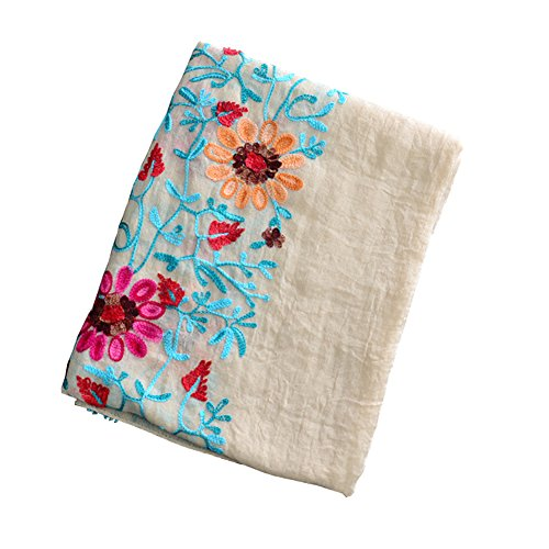 (Sexyinlife Nepal Embroidery National Wind Flower Resort Linen Cotton Shawl Scarf, Beige)