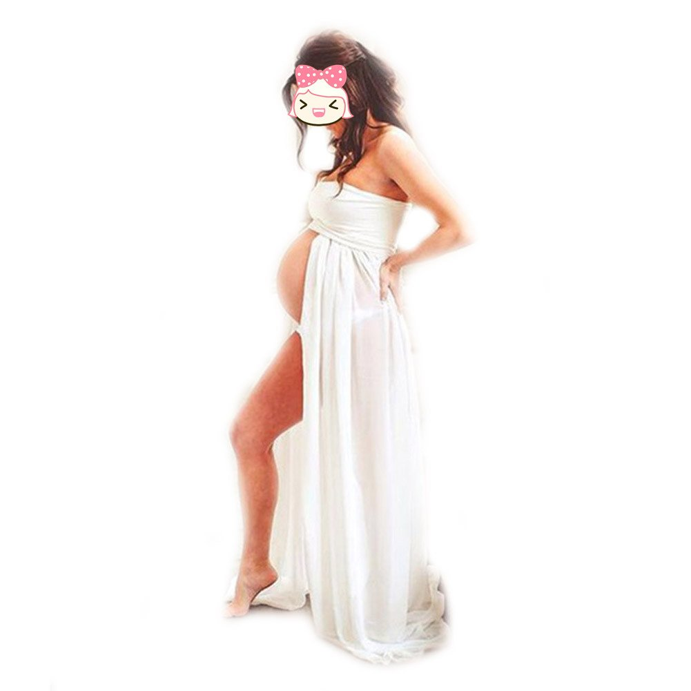 Pregnant Women Bra Chiffon Stitching Long Dress Maternity Gown Photography Props QIANDUOO