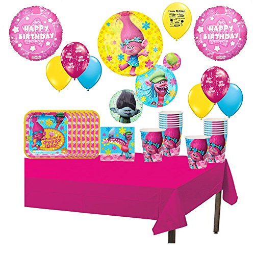 Trolls Birthday Party Tableware and Balloons Set for 16