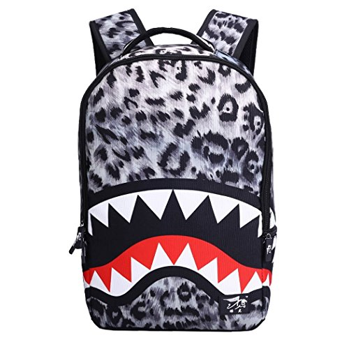 VINICIO Womens / Mens Fashionable Beautiful Personality Domineering 3D Pattern Casual Bags Teenager Student Backpack Outdoor Travel Bags(GreyShark)