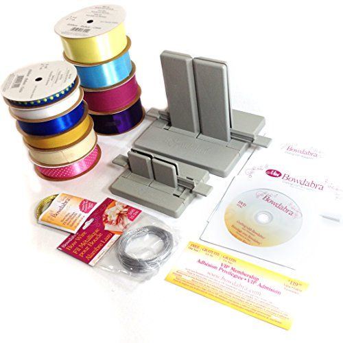Bow Maker Large - Ultimate Bow Making Kit: Large Bowdabra Bow Maker, Mini Bowdabra Bow Maker, Bow Wire, and 10 Assorted Ribbons (Colors/styles May Vary)