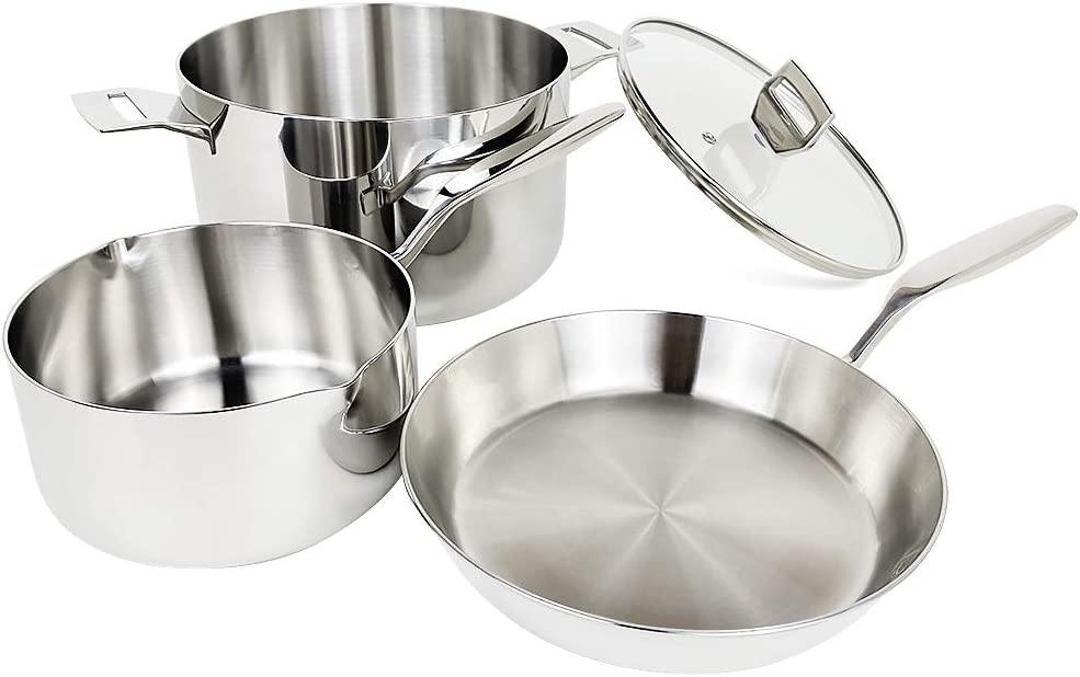 COOKPAD Commercial Grade Triply Stainless Steel Cookware Set, 4 Piece Induction Pan and Pot Set, Stock Pot with Lip/Stew Pot/Frying Pan, Kitchen Dishwasher/Oven Safe
