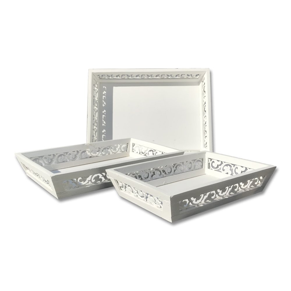 The French Country Chateaux Style Trays, Set of 3, Rustic White, Inset Fleur Di Lise Style Borders, Shabby Finish, Rectangles, All Over 1 Ft Long,