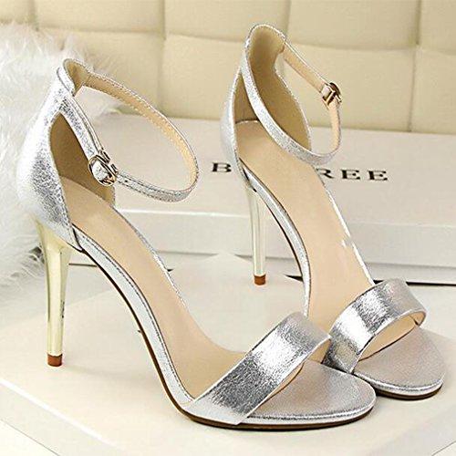 Eastlion Women's 1 Strap Suede Stiletto Heel Sandals Peep Toe Shoes Silver 5aSfre
