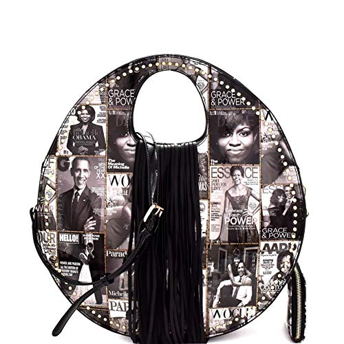Michelle Obama Magazine Cover Print Fringed Round Handle Satchel Purse Wallet SET