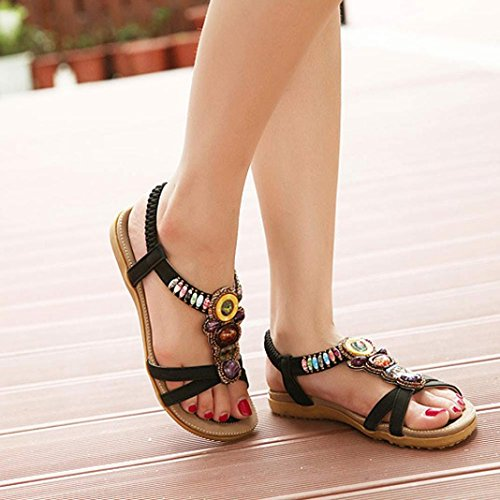 HARRYSTORE 2017 Moda de las mujeres de verano Sweet Beaded Clip Toe Flats Bohemio Herringbone Sandalias Negro