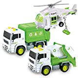 JOYIN 3 in 1 Friction Powered City Waste Management Vehicle Car Truck Toy Set Including Helicopter, Garbage Truck, and Waste Collection Truck, with Lights and Sounds / Sirens