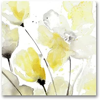 Amazon Com Genius Decor Modern Yellow Grey And White Abstract Flower Art Canvas Wall Decor Yellow Gray 20x20inch Posters Prints