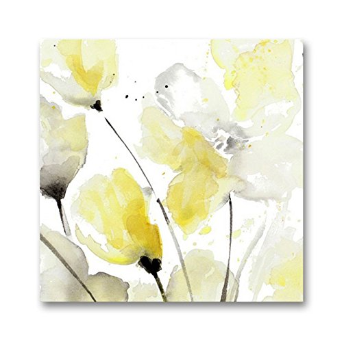 Genius Decor - Modern Yellow Grey and White Abstract Flower Art Canvas Wall Decor (Yellow Gray, 20x20inch) (Yellow Gray And Canvas Wall Art)