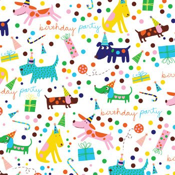 "Barkday Dog Birthday Party Gift Wrap Flat Sheet 24"" X 6' - Holiday Gift Wrapping Paper"