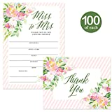 Bridal Shower Invitations ( 100 ) & Thank You Cards ( 100 ) Matching Set with Envelopes, Large Wedding Party Event 5 x 7'' Fill-in-Style Pink Guest Invites & Folded Thank You Notes Best Value Pair