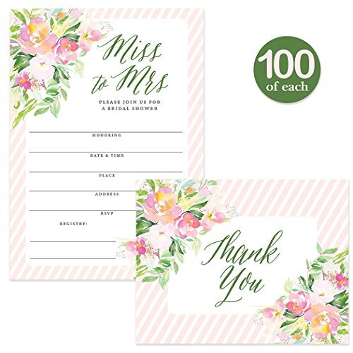 Bridal Shower Invitations ( 100 ) & Thank You Cards ( 100 ) Matching Set with Envelopes, Large Wedding Party Event 5 x 7'' Fill-in-Style Pink Guest Invites & Folded Thank You Notes Best Value Pair by Digibuddha