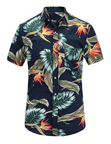 JEETOO Mens Casual Flower Print Hibiscus Short Sleeve Hawaiian Aloha Shirt(Nmonstera, (Hibiscus Flower Print)