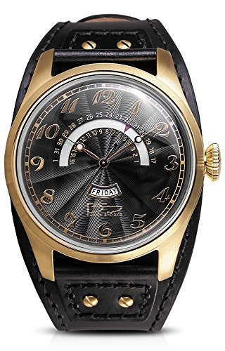 Daniel Steiger Vintage Boston Gold & Black Watch - Wide Cuff Style Black Leather Strap - Day & Retrograde Date Features - Black Textured Dial (Luxury Retrograde Watch)