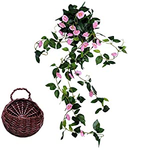 Calcifer 1 Set(5 Stems/Set 100 cm Artificial Silk Rose Small Hanging Flowers + Hanging Basket for Home Garden Outdoor Wedding Decoration (Pink) 80