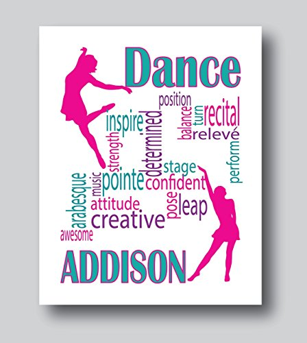 Personalized Dance Gifts For Girls, Personalized Dance Poster, 8x10 or 11x14 Dance Print Only, Dance Decor For Girls Room