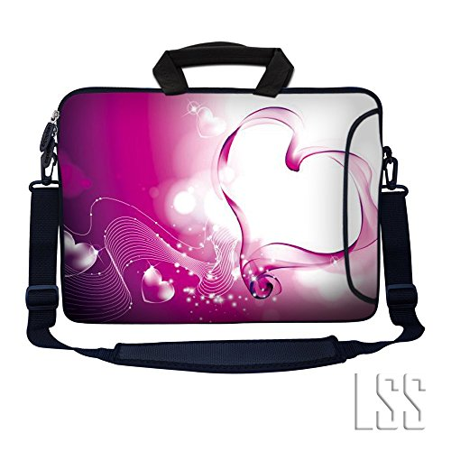 Laptop Skin Shop 15.6 inch Laptop Sleeve Bag Notebook with Extra Side Pocket, Soft Carrying Handle & Removable Shoulder Strap for 14