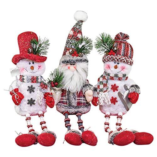 (Hanna's Handiworks Santa & Snowmen Christmas Button Dangle Legs 18 Inch Plush Shelf Sitters Set of)