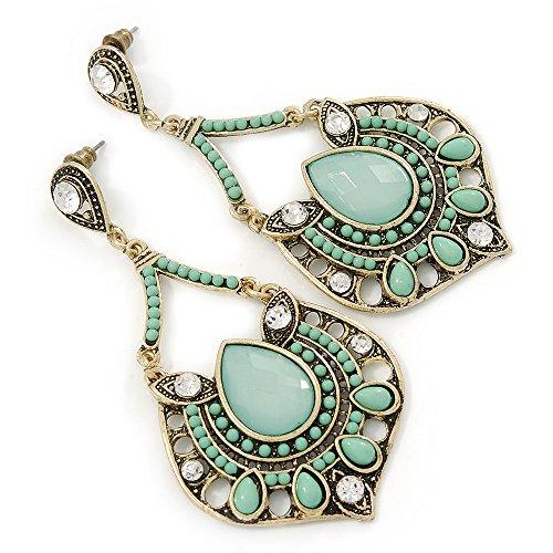 Green Beads Chandelier Earrings (Vintage Inspired Light Green Acrylic Bead, Clear Crystal Chandelier Earrings In Gold Tone - 80mm L)
