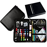 Image of New Design Professional Sewing Supplies Kit With Leather Case by Back2Basics – Complete Set w/ Scissors, Threader, Thimble & More for All Of Your Sewing & Emergency Needs (Black)