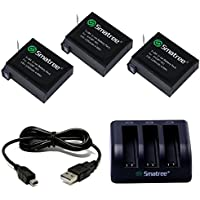 Smatree Battery (3 Pack) and 3-Channel Charger for Gopro Hero 4 -[NOT for Hero 5]