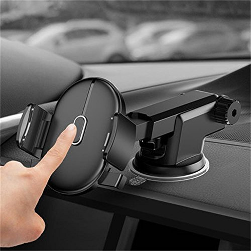 Price comparison product image Teammao Car Holder,Universal Adjustable One Touch Long Arm Car Mount Holder with Dashboard & Windshield for iPhone 8//7/7Plus/6s/6/5S, Galaxy S5/S6/S7/ to 2inch-3.1inch width screen Phone (Black)