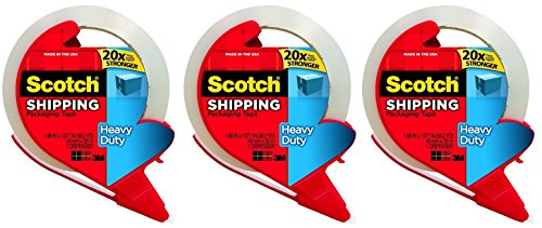 Scotch Super Strength Packaging Tape, 1.88 Inch x 38.2 Yards [3850S-RD] Clear (Pack of 3 Rolls) (Scotch Extra Strength Packaging Tape)