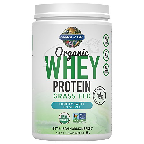 Whey Sweet - Garden of Life Certified Organic Grass Fed Whey Protein Powder - Lightly Sweet, 12 Servings - Stevia-Free, 21g Protein plus Probiotics, Non-GMO, Gluten Free, rBST & rBGH Free, Humane Certified