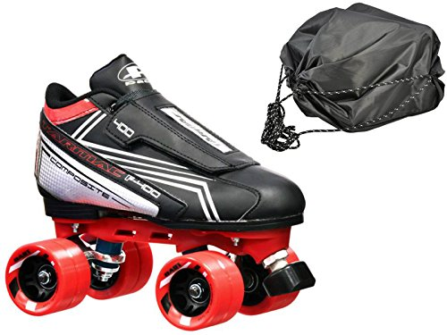 Customized Tarmac Remix Quad Roller Speed Skates Red Dart Wheels Bonus DS Skate Bag by Pacer Skates