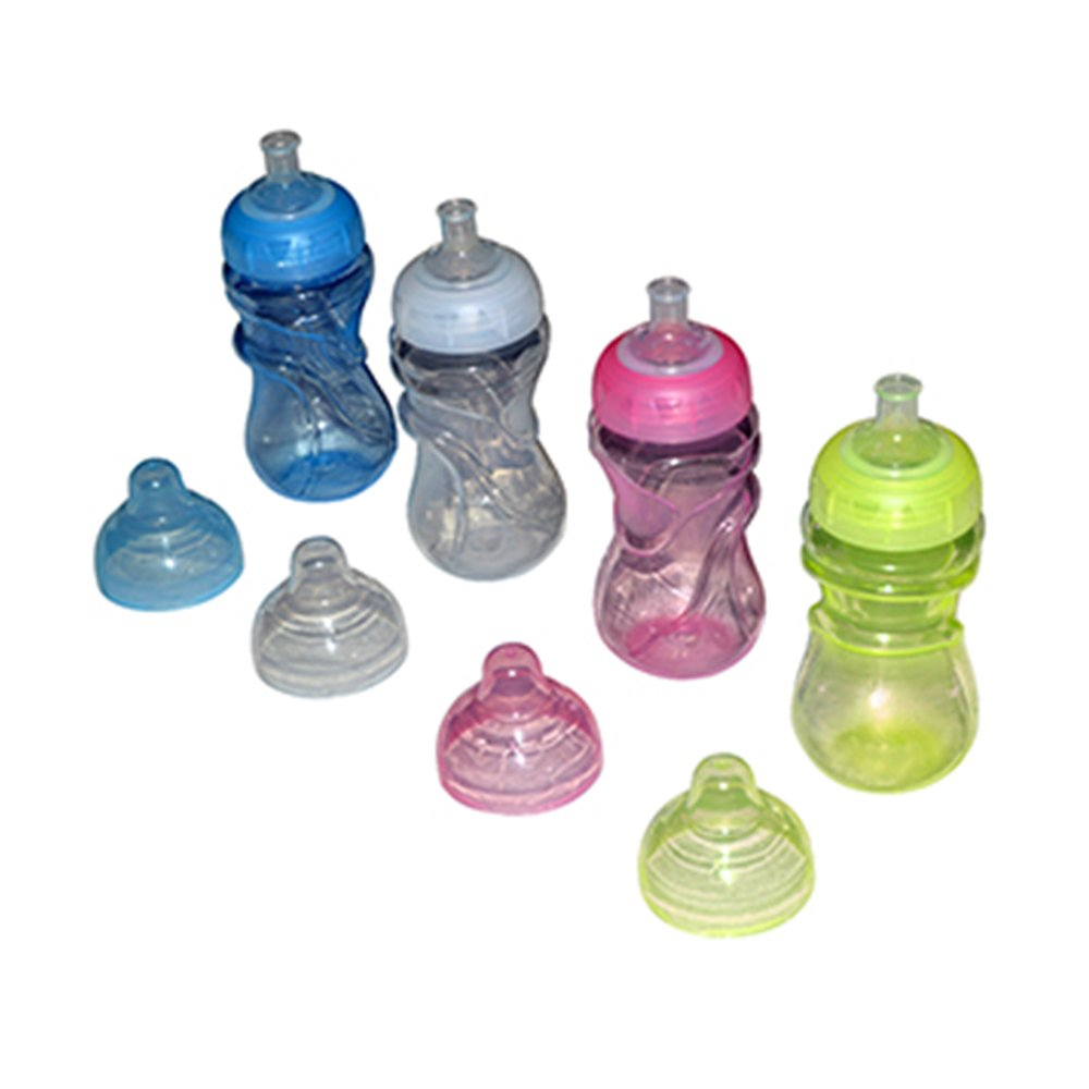 Sharebear BPA Free Sippy Cups - Leak Proof, Spill Proof - Dishwasher Safe - Your Baby or Toddler Will Love the Easy Grip Hold - 4 Pack 12 oz.