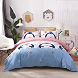 Heaven home textile 100% Cotton 3pcs Duvet Cover Set(1×Duvet Cover+2×Pillow Shams)-Lovely Penguin Cartoon Printed for Kids Gifts.-Comfortable, Soft, Breathable and Extremely Durable.(Full/Queen)