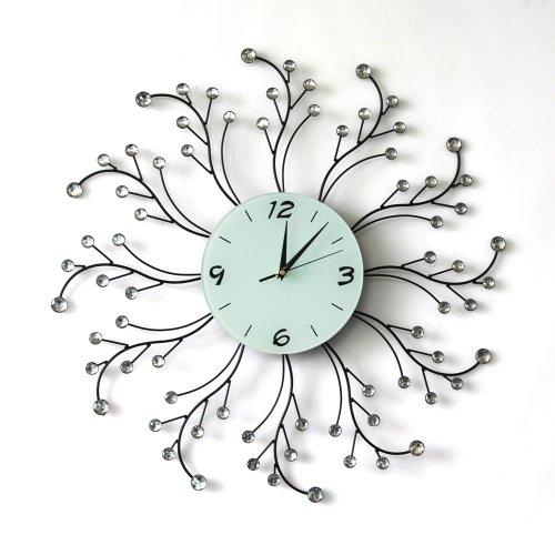 Starburst Type Decorative Metal and Acrylic Diamond Wall Clock