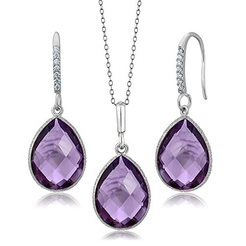(Gem Stone King Sterling Silver Faceted Amethyst Pear Shape Pendant and Earrings Set (19.50 cttw Gemstone Birthstone with 18 Inch Silver Chain))