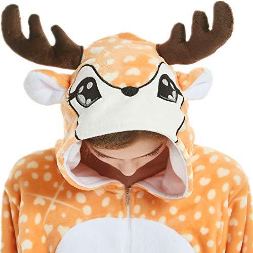 qqonsie Deer Onesie Adult Reindeer Onsie Pajamas